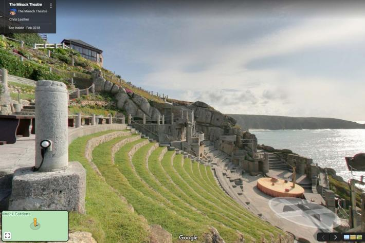 A still of the theatre from The Minack's 360º virtual tour