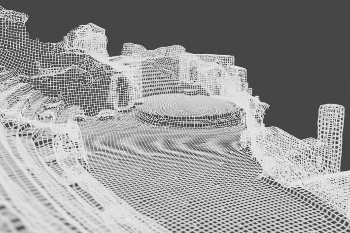 A wireframe image of the Minack