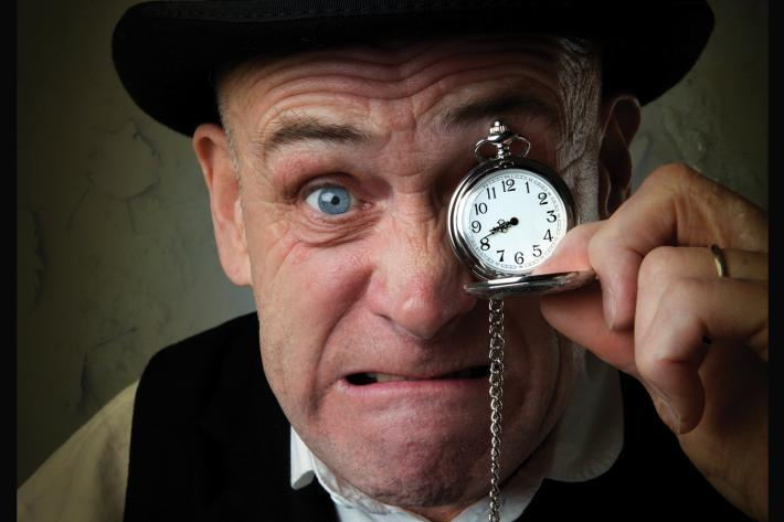 Close up of Dave Mynne as Scrooge
