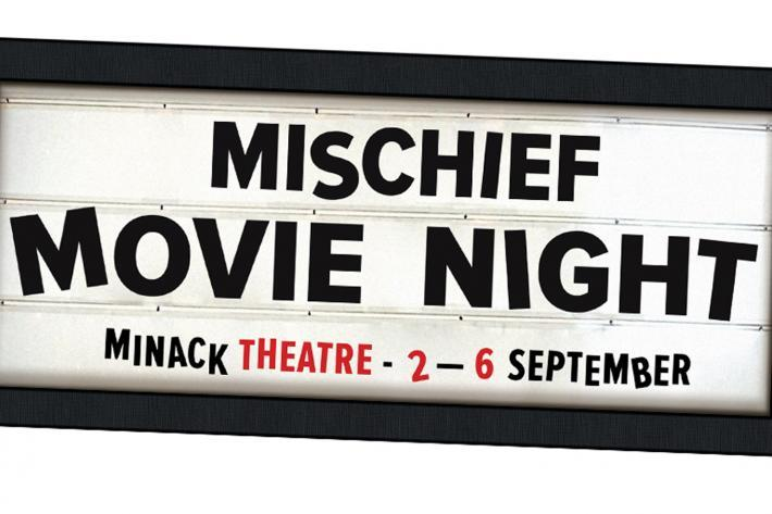 Old fashioned movie signboard announcing Mischief Movie Night