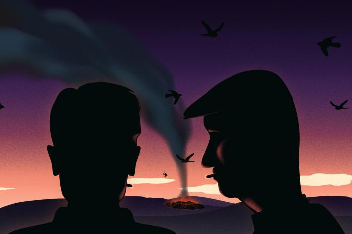 Brooding image of two men watching a burning pyre