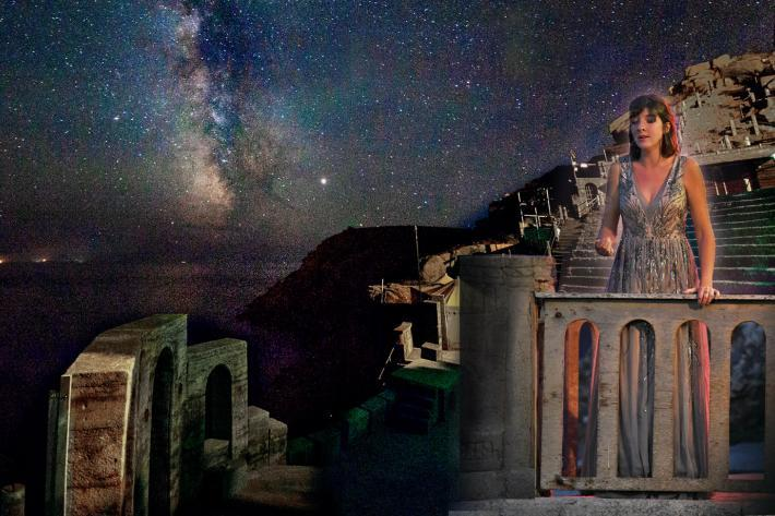 The Milky Way above Minack with an opera singer