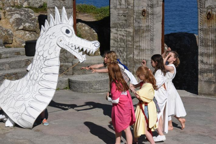 Children create a play on the Minack stage