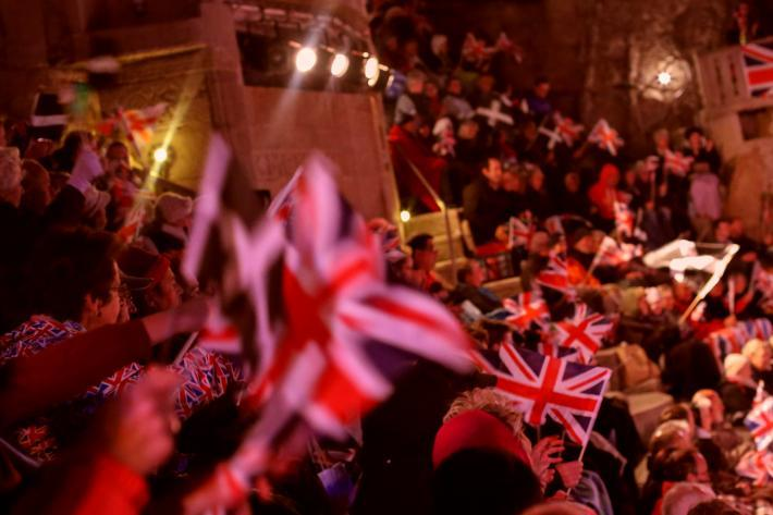 Audience with flags at the Minack Proms