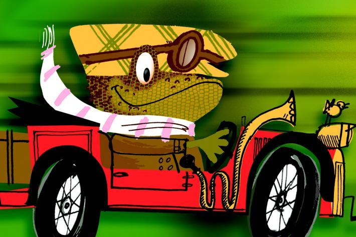 Cartoon image of Mr Toad driving a fast sports car