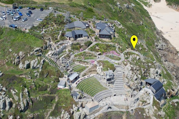 An aerial view of Minack