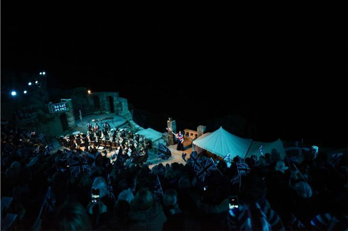 The Mount Charles band on the Minack stage