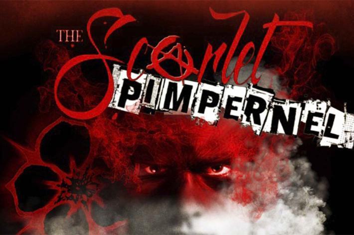 The Scarlet Pimpernel wearing a scarlet mask